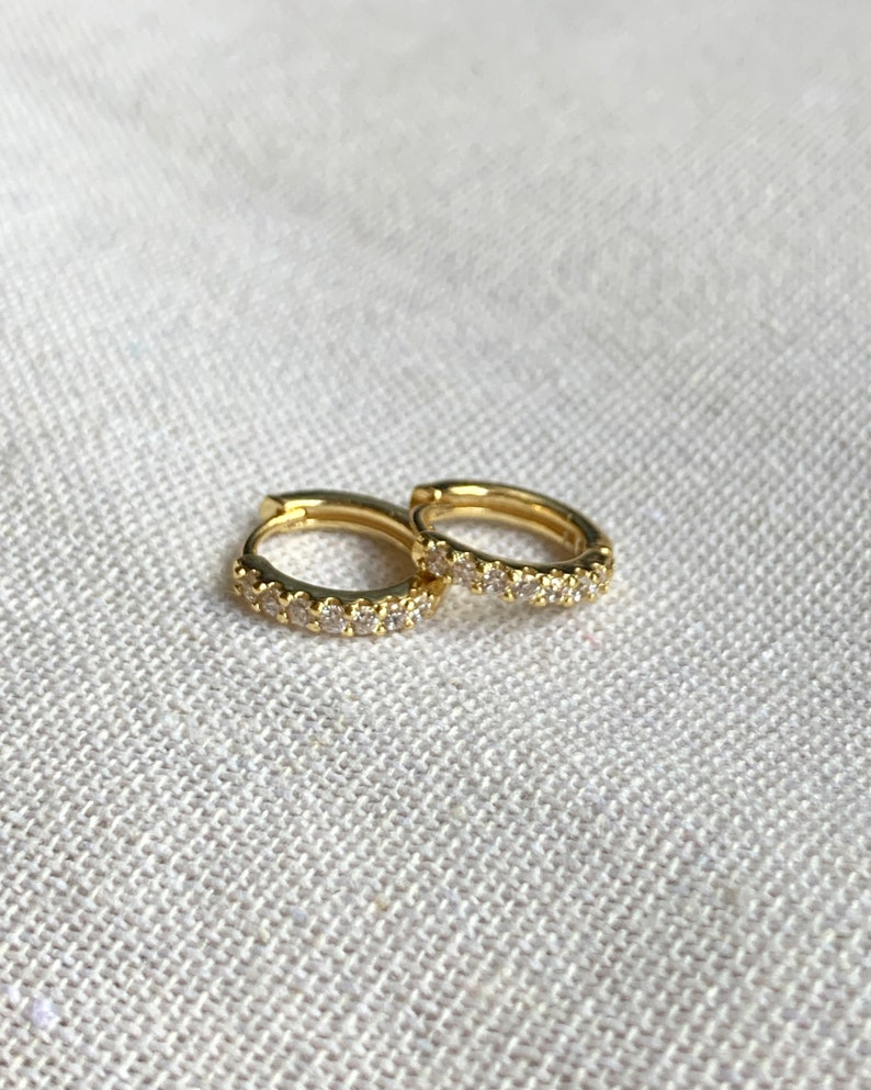 Diamond Huggie Earrings Gold small hoops Silver tiny hoops image 0