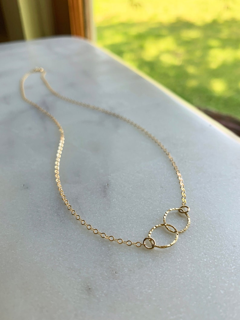 Double Circle Necklace  gold connected circles necklace  image 0