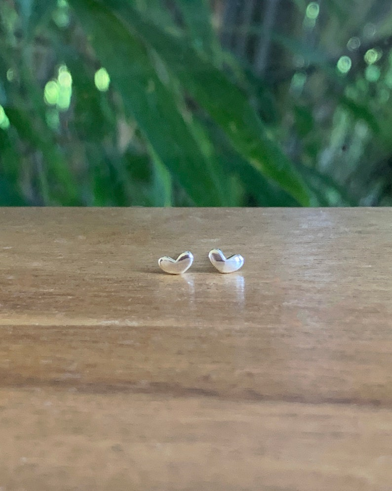 Tiny silver heart studs  heart earrings  cartilage stud image 0