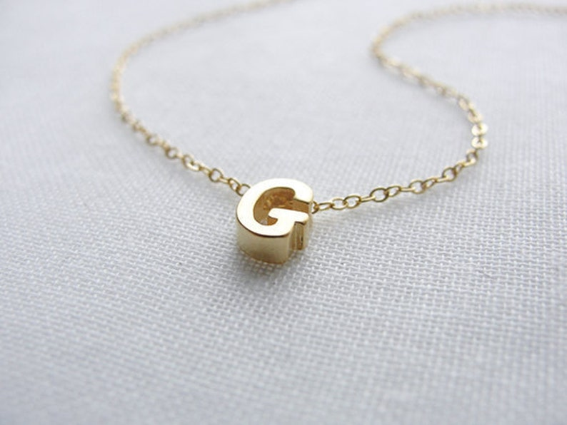 Tiny Gold Letter Necklace Initial Necklace Dainty Letter image 0