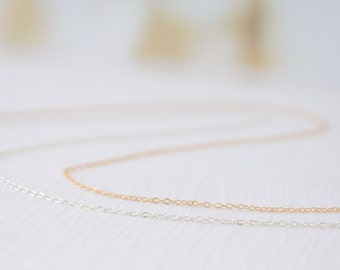 14k Rose Gold Filled Chain, 14k Gold Filled Chain, Sterling Silver Chain, Plain Chain Necklace, Thin Chain Necklace, Olive Yew - 1138