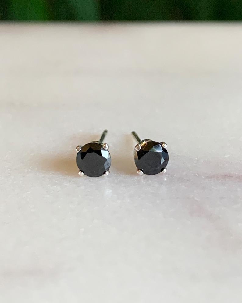 Black Diamond Earrings  Black diamond studs  dainty stud image 0