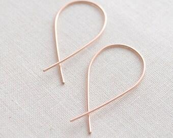 Rose Gold Inverted Hoops - 3124