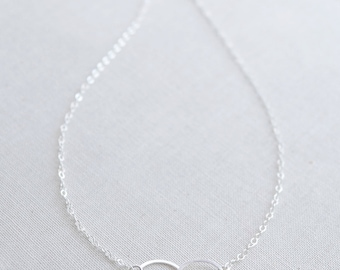 Silver Double Circle Necklace, Sterling Silver Linked Circles Necklace, Connected Circles Necklace, Petite Rings Charm, Olive Yew - 1133