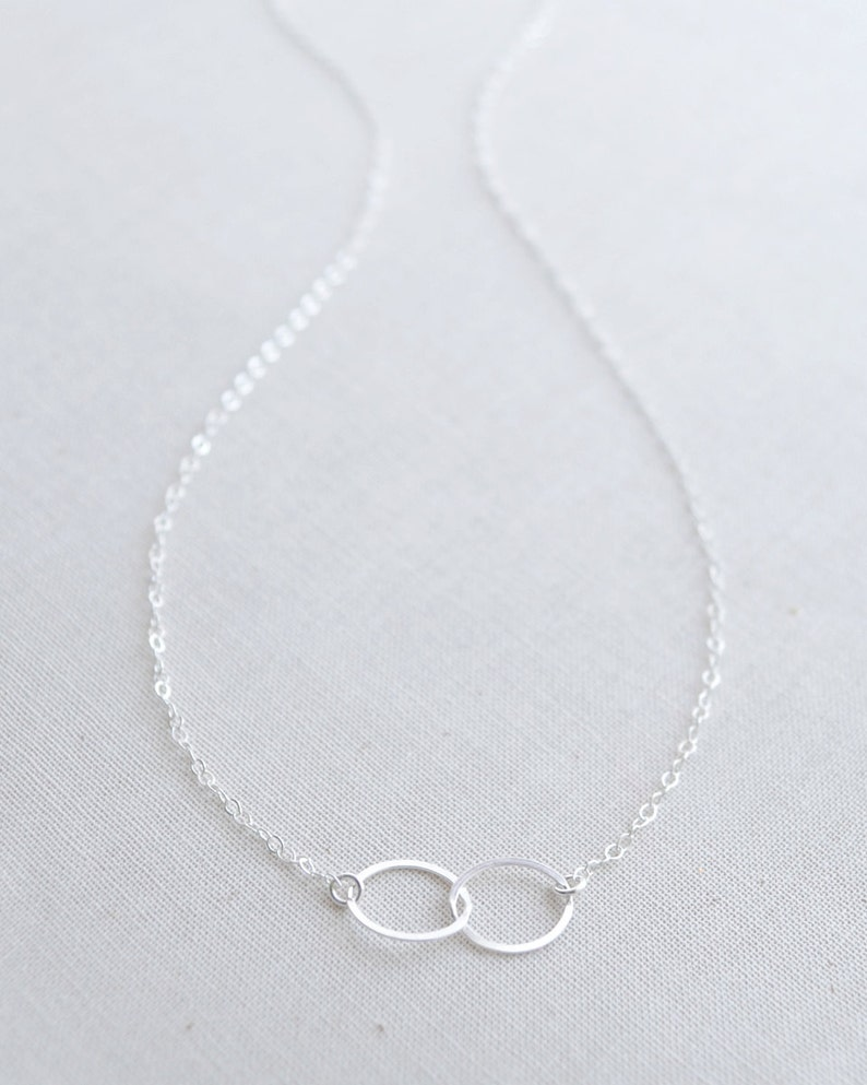 Silver Double Circle Necklace Sterling Silver Linked Circles image 0