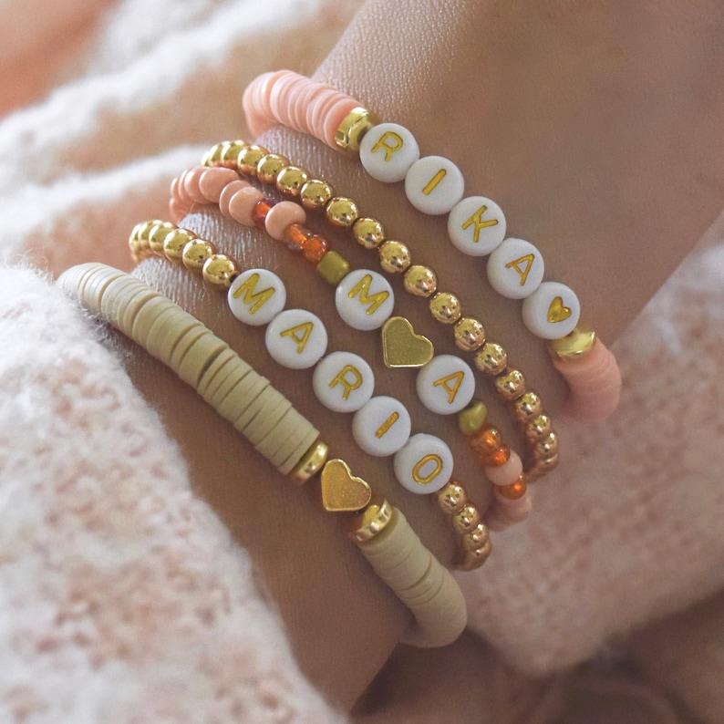 Heishi Beaded Name Bracelet  Personalized Custom Beaded image 0