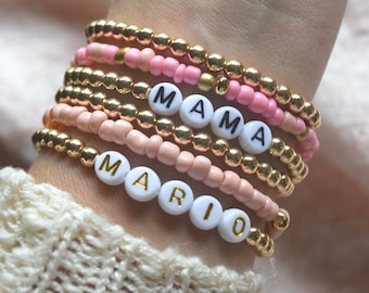 Personalized Name Bracelet | Gold Beaded Bracelets | Gold Stacking Bracelets | Custom Gold Name Bracelets | Gold Filled