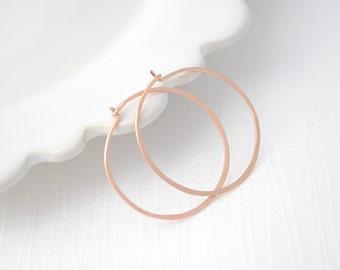 Hammered Rose Gold Hoop Earrings, Handmade Hammered Hoops, 1 Inch Hoops, Classic Hoop Earrings, Small Hoop Earrings, Olive Yew - 3104