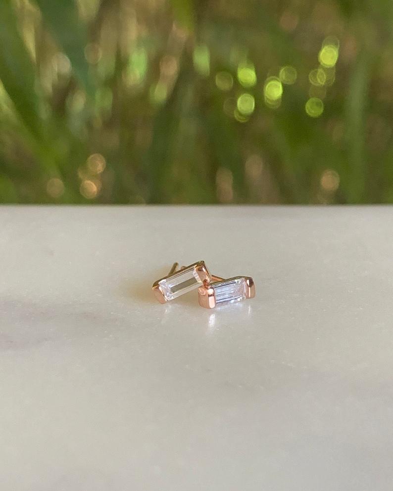 Baguette Earrings  Stud Earrings  Diamond earrings image 0