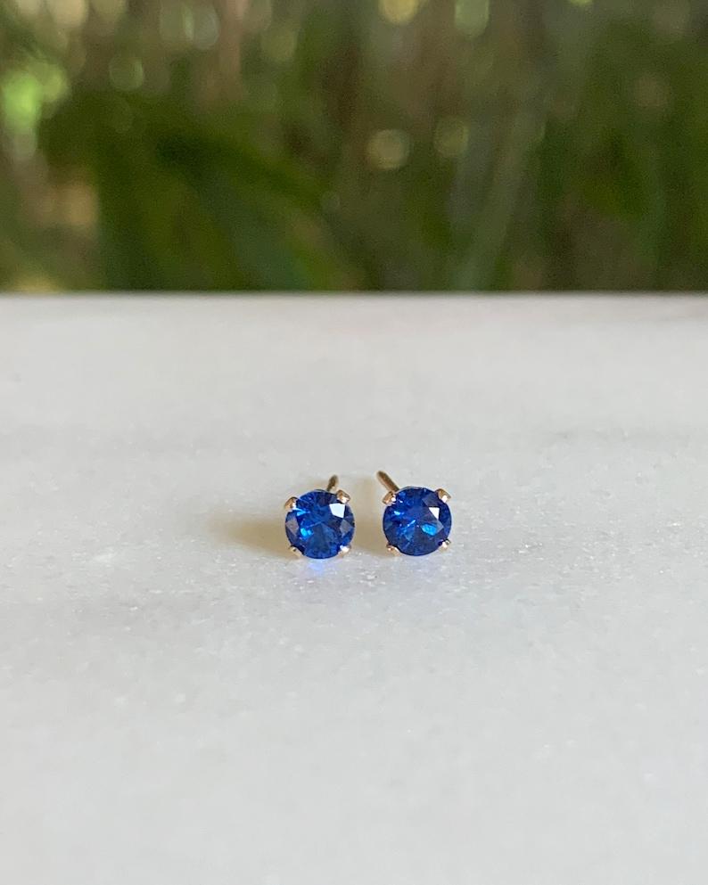 Sapphire Stud Earrings  Sapphire earrings  September image 0