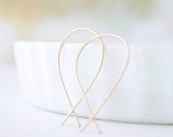 Gold Inverted Hoop Earrings, Upside Down Hoops, Handmade Gold Hoop Earrings, Crossed Wire Hoops, Unique Hoop Earrings, Olive Yew - 3124