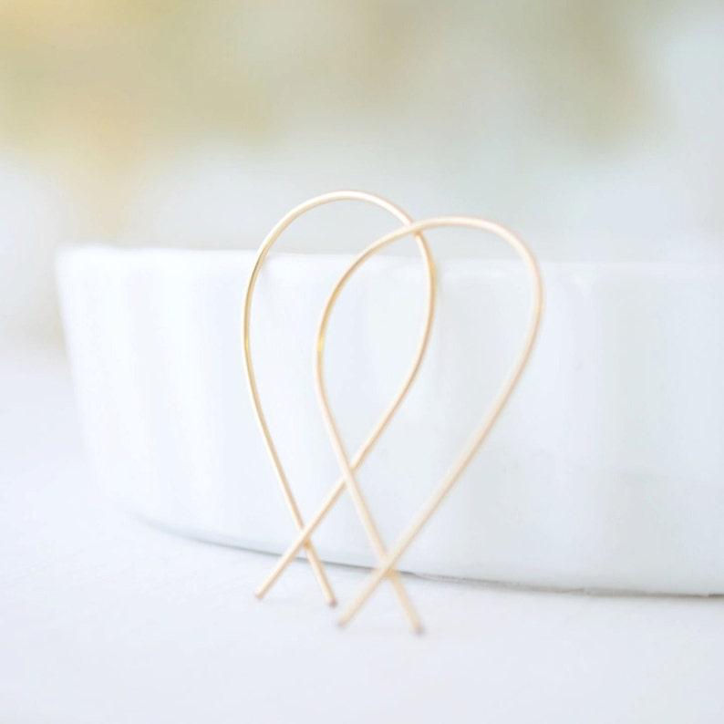 Gold Inverted Hoop Earrings Upside Down Hoops Handmade Gold image 0