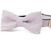 Crew LaLa™ Americana Seersucker Bow Tie Dog Collar