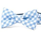 Crew LaLa ™ Periwinkle Picnic Plaid Bow Tie Dog Collar
