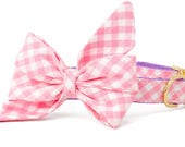Crew LaLa ™ Pink Picnic Plaid Belle Bow Dog Collar