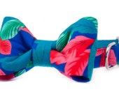 Crew LaLa™ Hawaiian Shirt on Royal Bow Tie Dog Collar