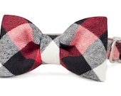 Crew LaLa™ Red, Black & White Buffalo Plaid Bow Tie Dog Collar