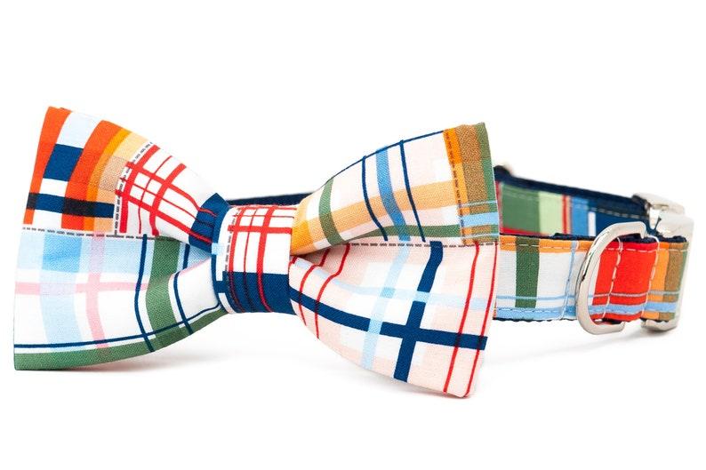 Crew LaLa\u2122 Seaside Madras Bow Tie Dog Collar