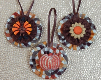 Turkey, Pumpkin and Sunflower Yo Yo Ornament Set - set of 3
