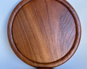 Solid Aged TEAK Cutting Board Cheese Fruit Board with Juice trench - 10 Inch Round Cutting Board- Cheese Charcuterie Display (2 Available)