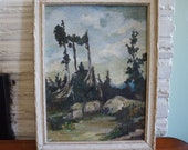 1940 signed Landscape Oil Painting - M.E. Kells - American Artist Impressionism Impressionist Landscape Evergreen forest Mountain Pines.