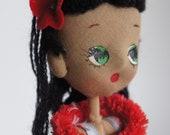 1960 s Posable Fabric Hula Doll 8 quot Big Eyes Dashboard Vintage Hawaiian Hula Dancer Pinup Hawaiiana Mod