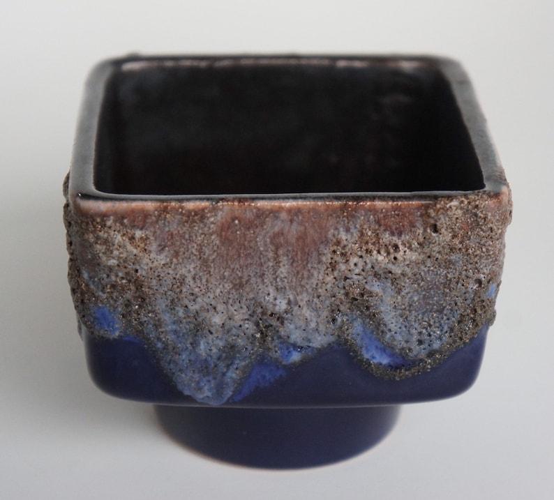 Mid-Century Strehla Keramik German Modernist Fat Lava Ceramic Planter Abstract Art Pottery Studio Blue robins egg Brown West Germany East