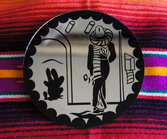 1930's Androgynous Mexican motif Mirror Fashion Gender Neutral Mid Century Art Cactus Southwest Desert