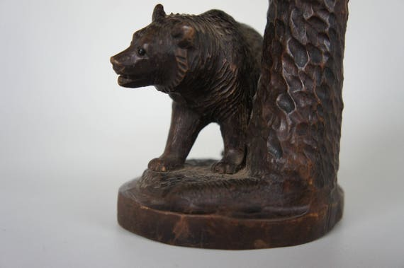 Antique Black Forest Carving Bear and Evergreen Tree Glass Eye Woodworking Hunting Fine Art