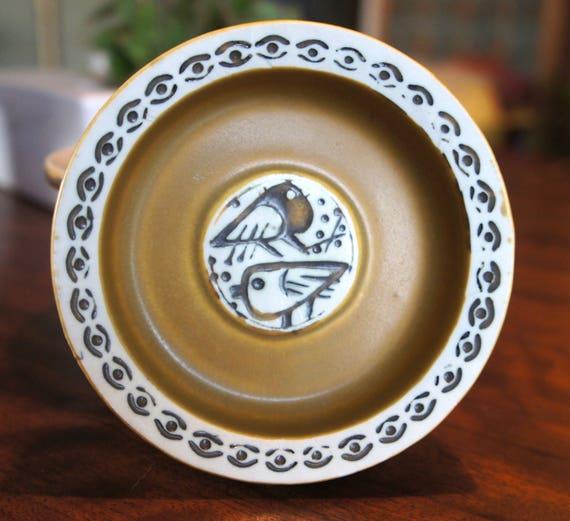Lisa Larson Birds Dish Ashtray part of 1960 THALIA series for Gustavsberg Sweden Studio Pottery Art Pottery Yin Yang