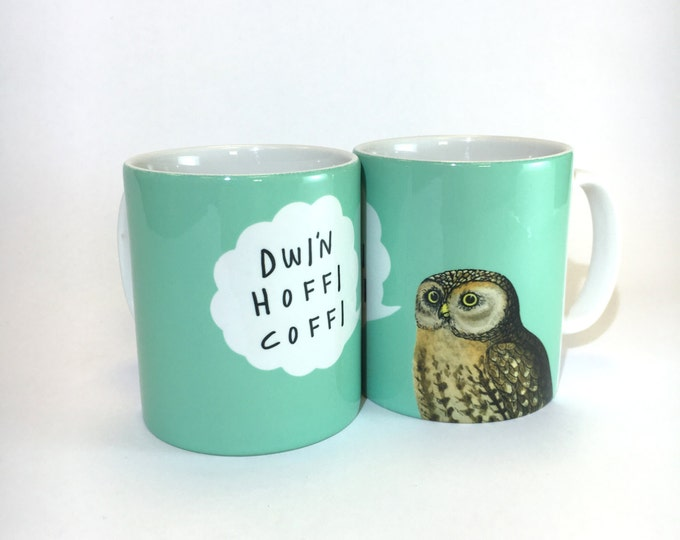 Featured listing image: Mug Dwi'n Hoffi Coffi Welsh I Like Coffee Aqua Blue Ceramic Mug 11oz
