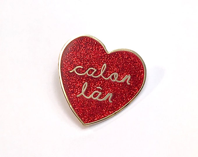 Featured listing image: Lapel Pin Calon Lan Red Glitter Welsh Pure Heart Hymn Gold Metal Hard Dye Struck Brooch Pin