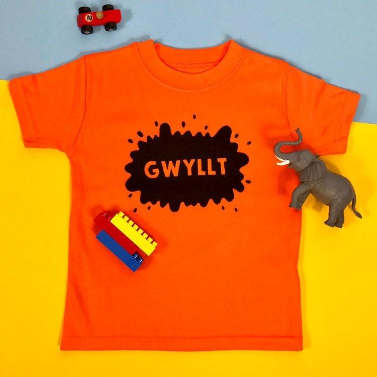Gwyllt Wild Welsh Kids Toddler Baby Clothes Orange T-shirt Welsh