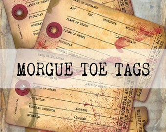 Toe Tag Collection Halloween Toe Tag Invitation Printable or Printed with FREE SHIPPING Any Wording