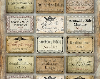 photograph about Printable Harry Potter Potion Labels titled Potions Etsy