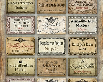 image relating to Harry Potter Potion Labels Printable known as Potions Etsy