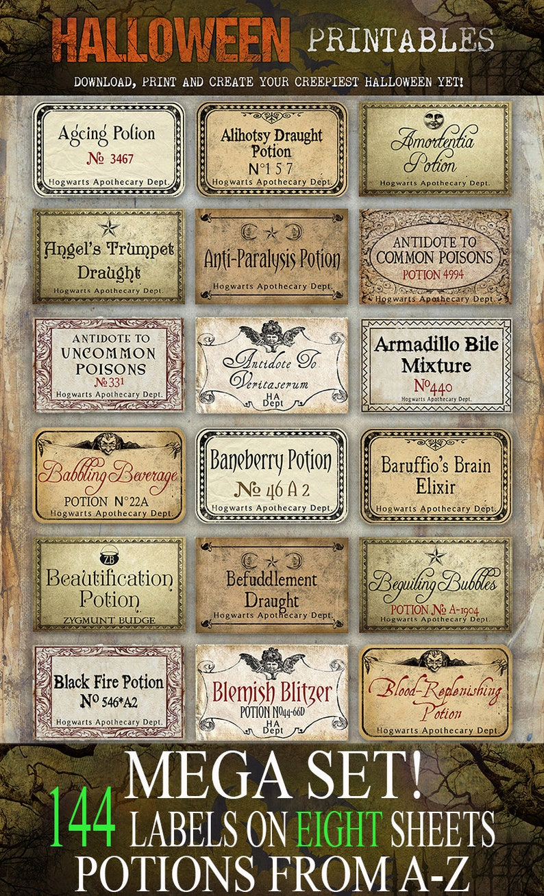 picture regarding Printable Harry Potter Potion Labels known as Wizards Potion Labels MEGA Fastened of 144 LABELS Halloween apothecary printable apothecary jar labels instantaneous obtain