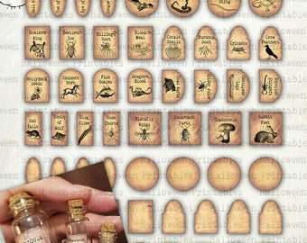 Miniature Dollhouse Apothecary Labels IN FOUR SIZES