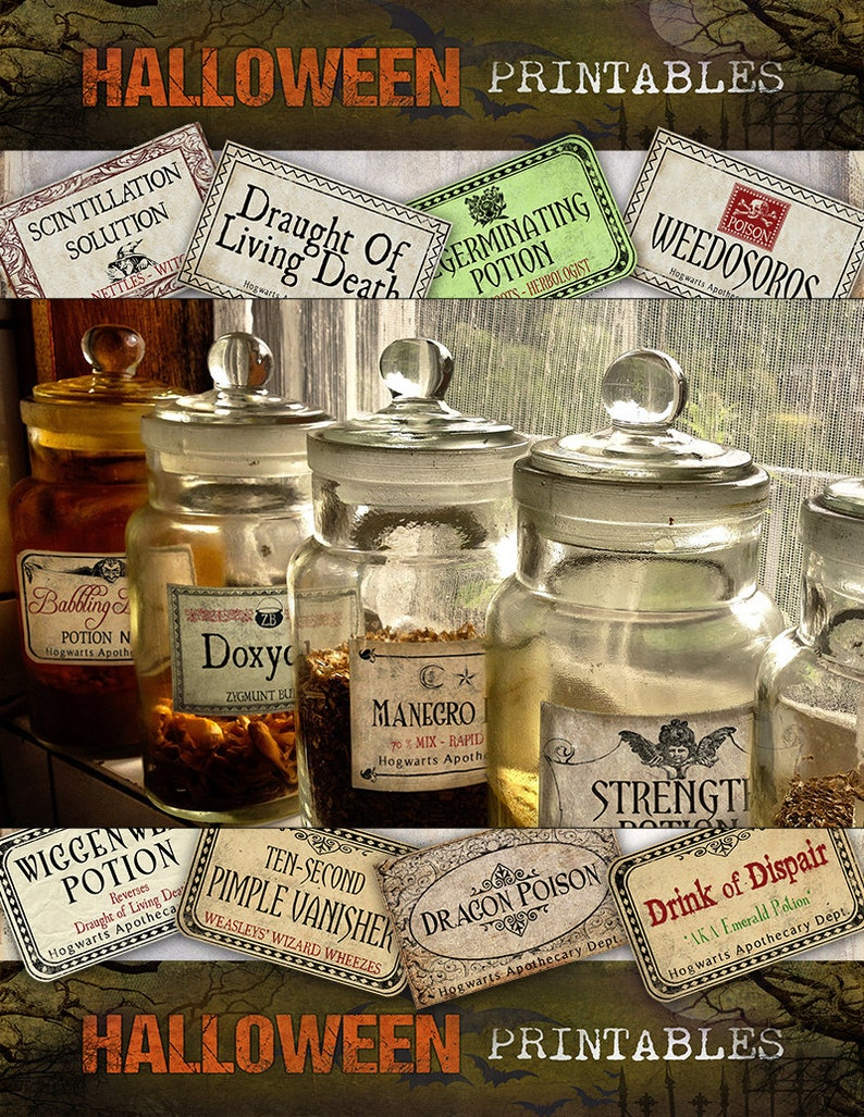 5c0c95e5350f Wizards Potion Labels MEGA SET of 144 LABELS Halloween apothecary printable  apothecary jar labels instant download