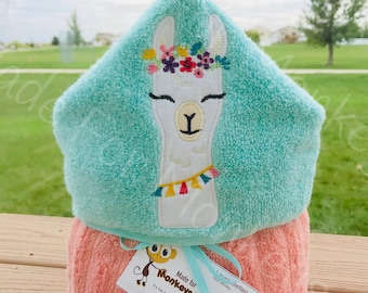 Personalized Hooded Towel, Llama
