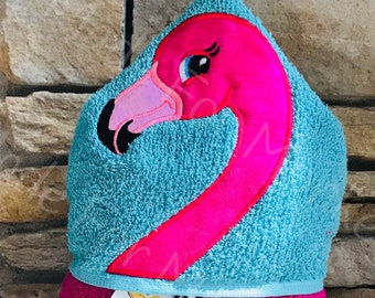Personalized Flamingo Hooded Towel