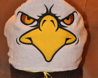 Kids Personalized Hooded Towel Bald Eagle