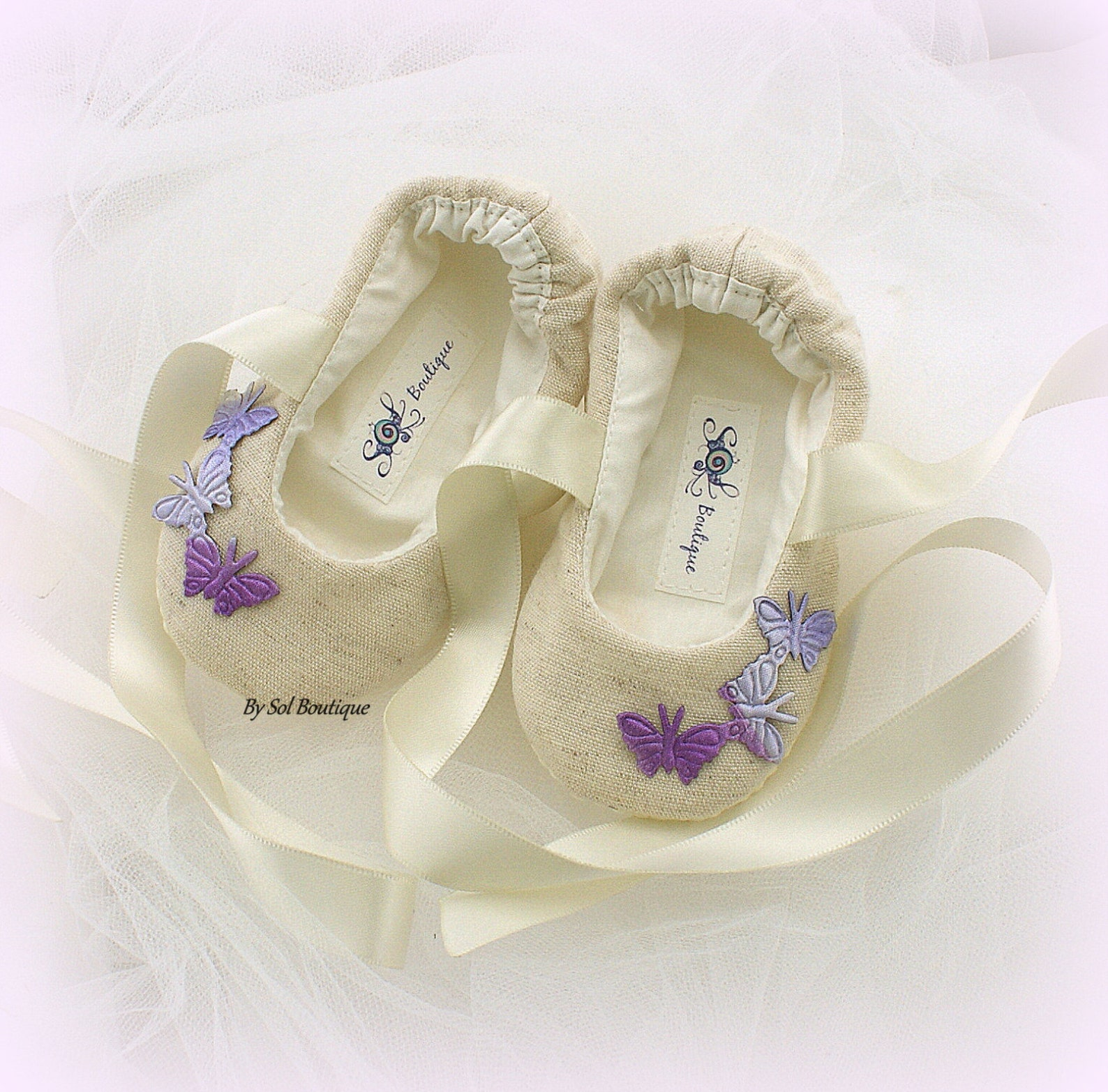 baby girl shoes, tan, purple, lilac, baby flats, baptism, butterflies, baby ballet flats, birthday, linen shoes, gift for baby,