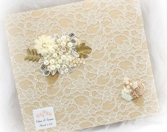 Baby Photo Album, Personalized Album, Baby Shower,Ivory, Quinceanera, Gold, Tan,Baptism Album,Gift for Baby, Lace Photo Album, Vintage Style