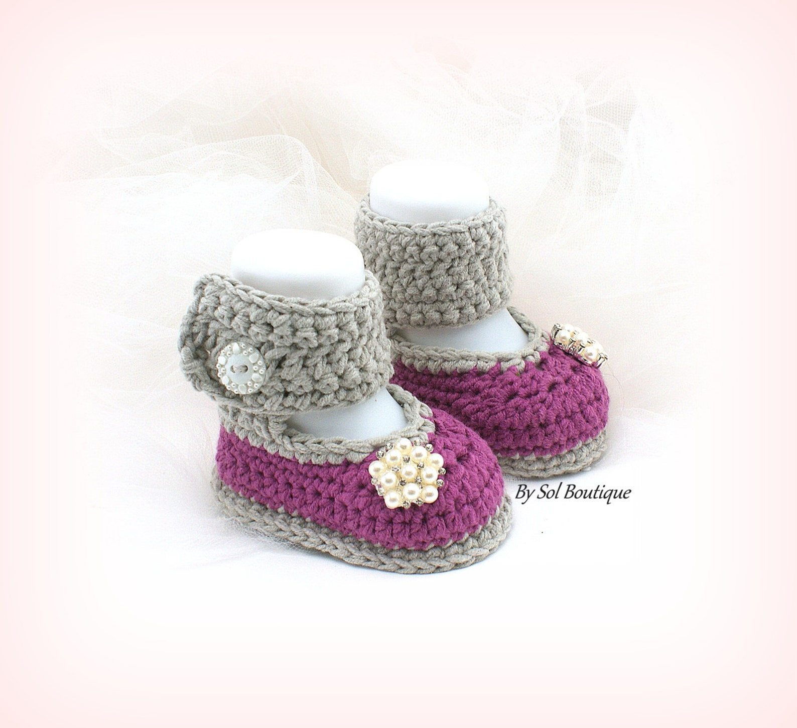 baby shoes,new born shoes,mauve,purple,gray,crochet shoes,photo prop, baby ballet shoes,booties,baby shower,gift for baby, chris