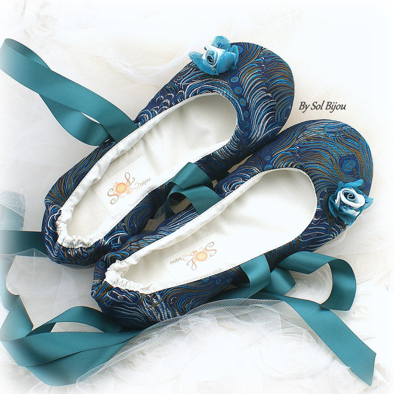 peacok girl flats,navy blue, turquoise, ballet flats,flower girl,quinceanera,prom,bat mitzvah,ballerina slippers,lace up,elegant