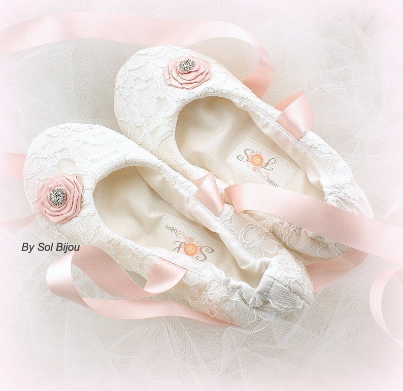 Flower Girl Flats White Blush Pink Ballet Flats Shoes Girl Ballet Slippers First Communion Confirmation Birthday Shoes with Ribbons