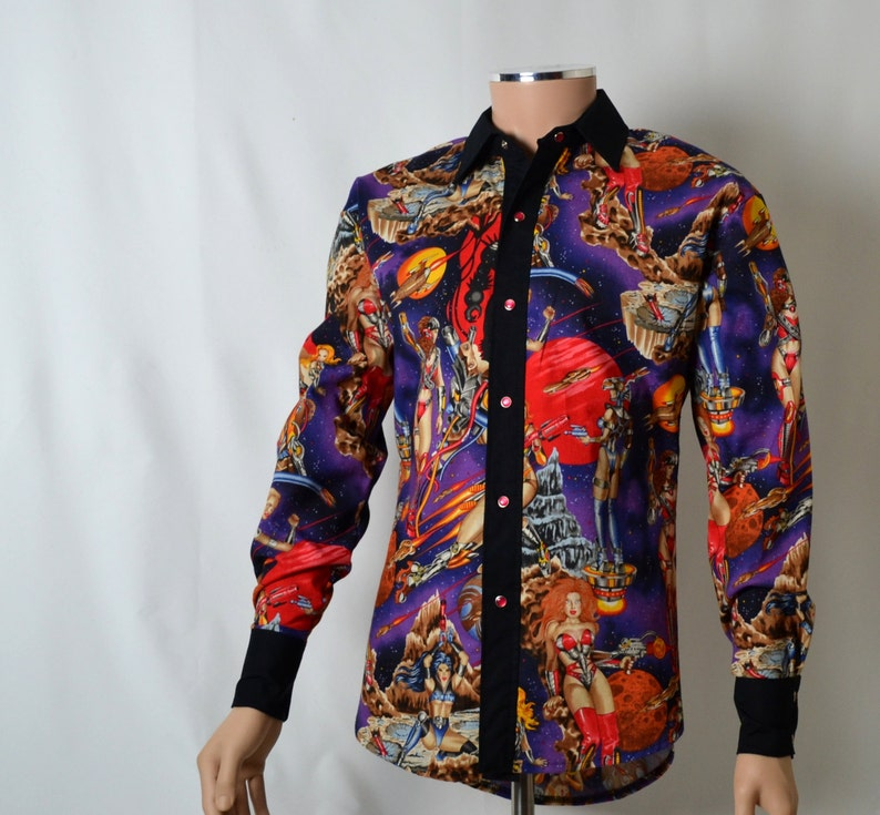 Closeout Sale! Ready to Ship, Men's Dress Shirt, Sci Fi Hotties Long  Sleeved Western Shirt, Black, Red, Purple, Pin Ups, Size Small, Tall