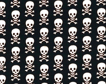 Black and White Skull and Crossbones Fabric By the Quarter Yard, Fat Quarter, Pirate