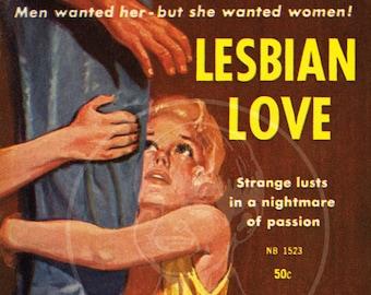 Lesbian Love - 10x15 Giclée Canvas Print of Lesbian Pulp Paperback